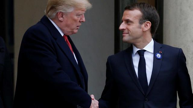 Em clima de tensão, Trump e Macron se reúnem em Paris