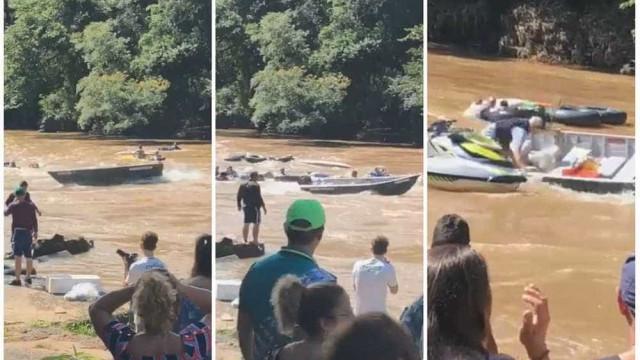 Barco desgovernado causa pânico em evento no Rio Mogi Guaçu; veja