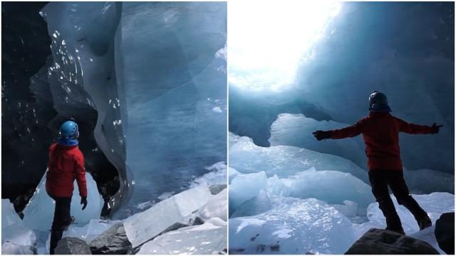 Exploradores mostram beleza impressionante de grutas de gelo