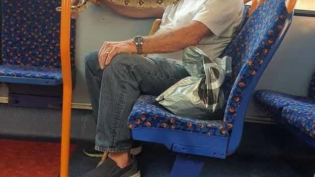Homem usa cobra como máscara de proteção em viagem de ônibus