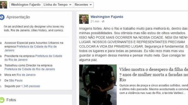 Presidente de órgão da Prefeitura critica violência no Rio e apaga post