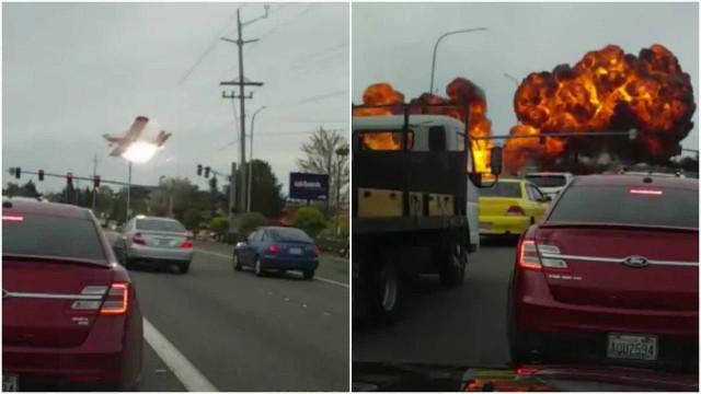 Avião cai e explode em avenida movimentada nos EUA; vídeo