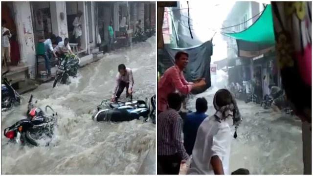 Tempestade arrasta veículos pelas ruas de Jodhpur, na Índia