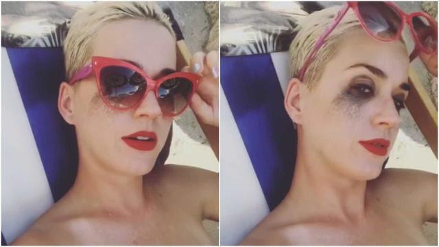 Katy Perry entra na água com delineador e mancha a cara inteira