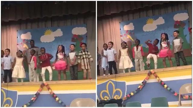 Criança dá espectáculo em festa da escola!