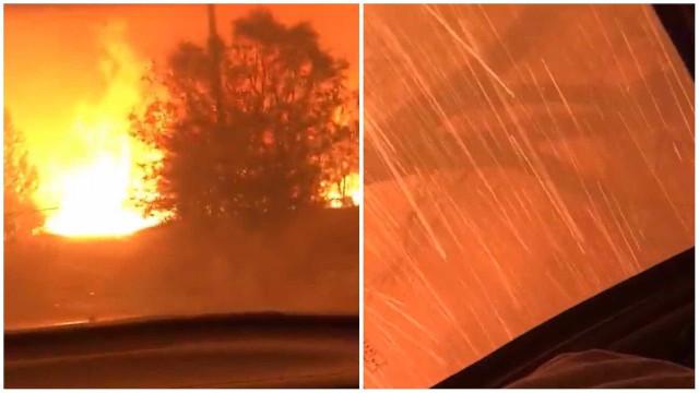 Homens registram fuga assustadora de incêndio na Califórnia