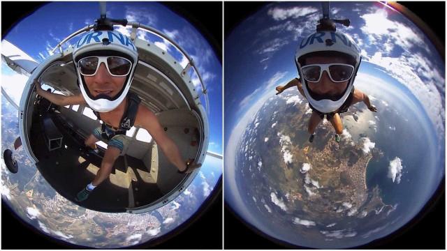 Paraquedista brasileiro grava imagens em 360º impressionantes