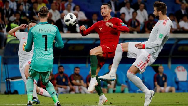 Com recorde de CR7, Portugal empata com a Espanha em Sochi