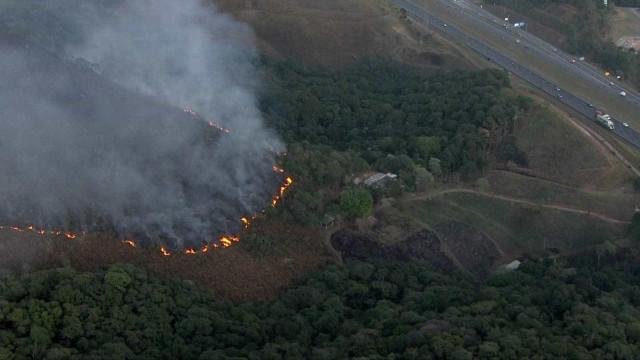Incêndio atinge região do Pico do Jaraguá e ameaça imóvel