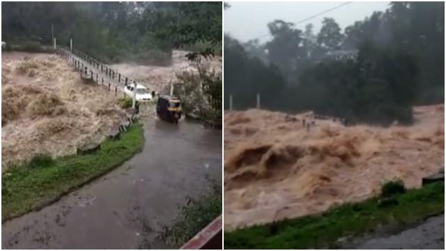 Enchentes na Índia deixam ponte submersa; assista