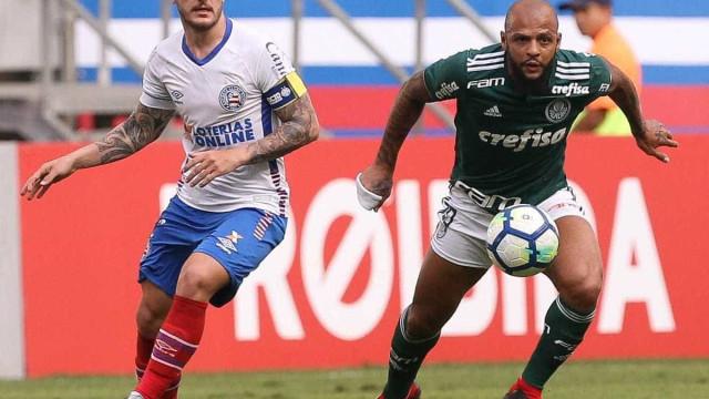 Felipe Melo marca, e Palmeiras arranca empate contra o Bahia