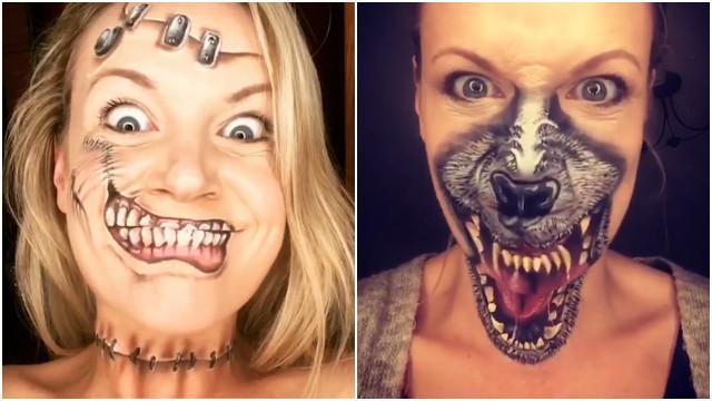 Artista faz maquiagem aterrorizante de Halloween