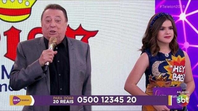 Ao lado de Maisa, Raul Gil elogia Bolsonaro durante o Teleton