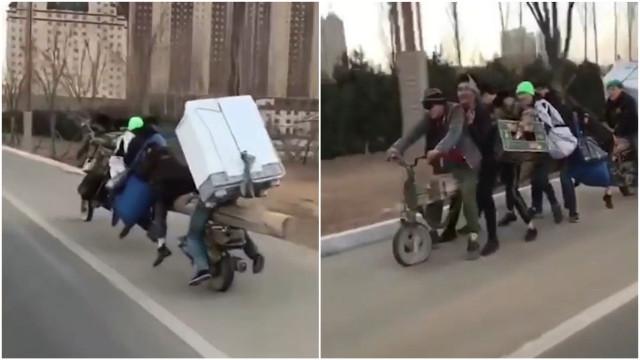 Moto anda com 7 pessoas e uma geladeira na China