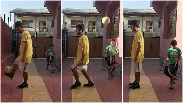 Estudante impressiona fazendo truques de futebol