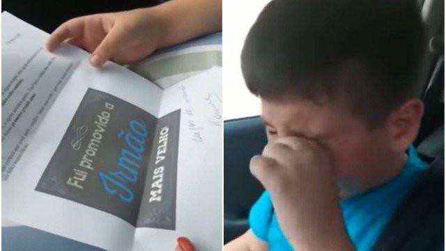 Vídeo: menino chora ao saber que terá irmão e emociona a web