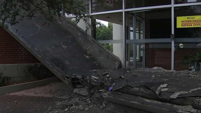 Marquise de prédio desaba em SP e mata estudante