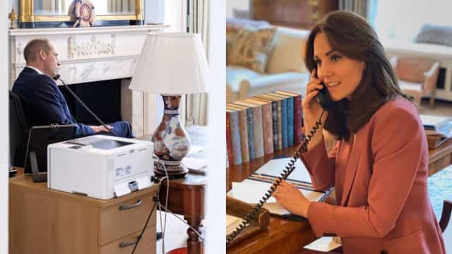 William e Kate Middleton mostram-se trabalhando a partir de casa