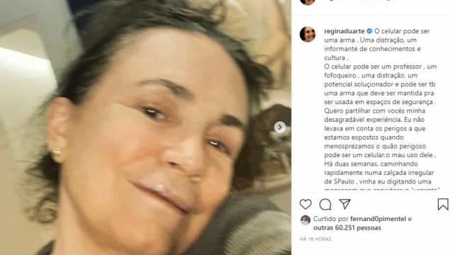 Regina Duarte leva tombo na rua e quebra três dentes