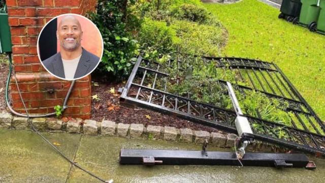 Dwayne Johnson arranca portão de casa após queda de energia