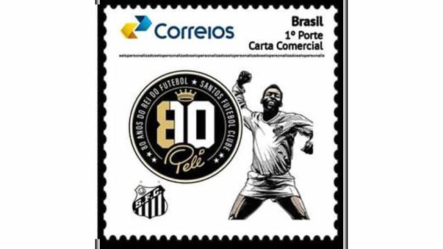 Selo e carimbo personalizados são lançados em homenagem aos 80 anos de Pelé