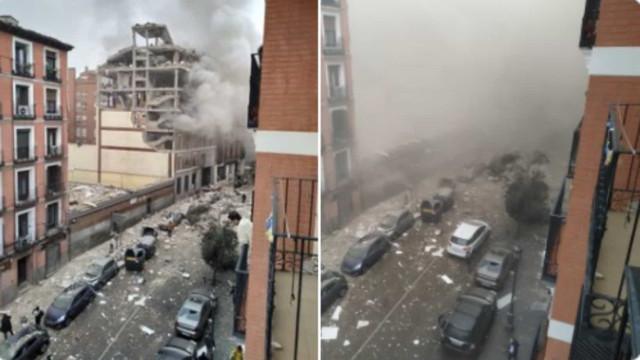 Forte explosão destrói edifício no centro de Madrid