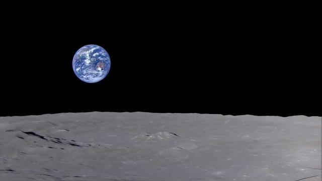 Vídeo mostra como é ver o 'nascer da Terra' a partir da Lua