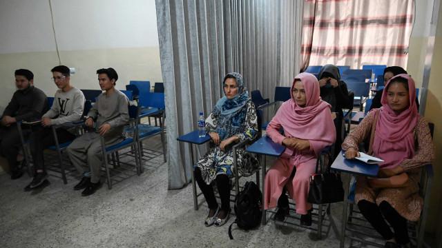 Afegãos retomam aulas sob o Talibã com cortinas dividindo homens e mulheres