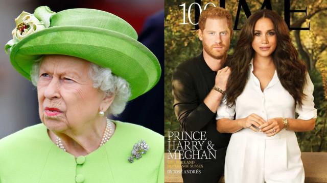 """Capa de Harry e Meghan foi uma """"facada"""" na reputação da rainha Elizabeth"""