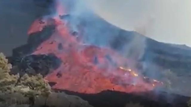 As imagens do novo rio de lava pode gerar outra fajã em La Palma