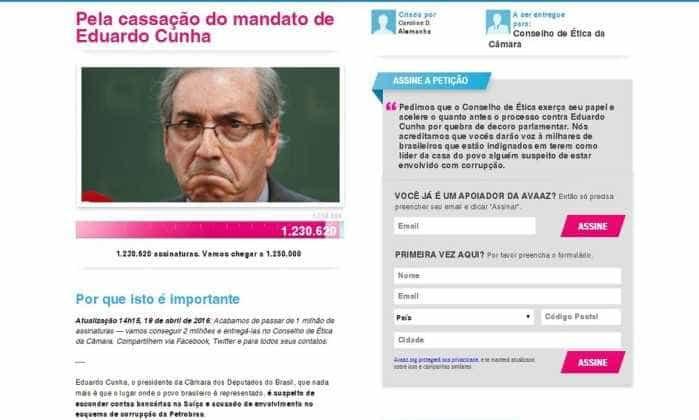 Petição pede a cassação de Cunha e tem mais de 1 milhão de assinaturas