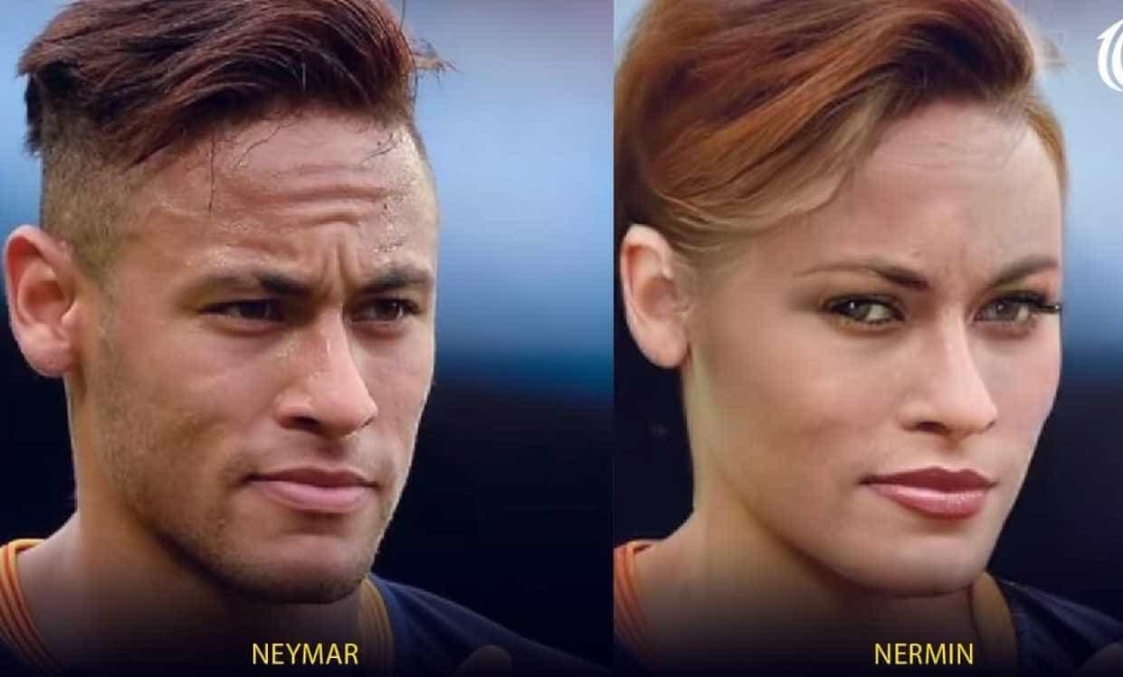 Canal mostra como seriam Neymar e outros craques se fossem mulheres