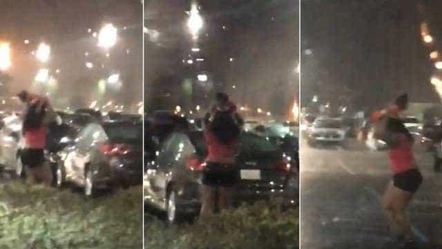Mulher usa criança como 'guarda-chuva' e é alvo de críticas
