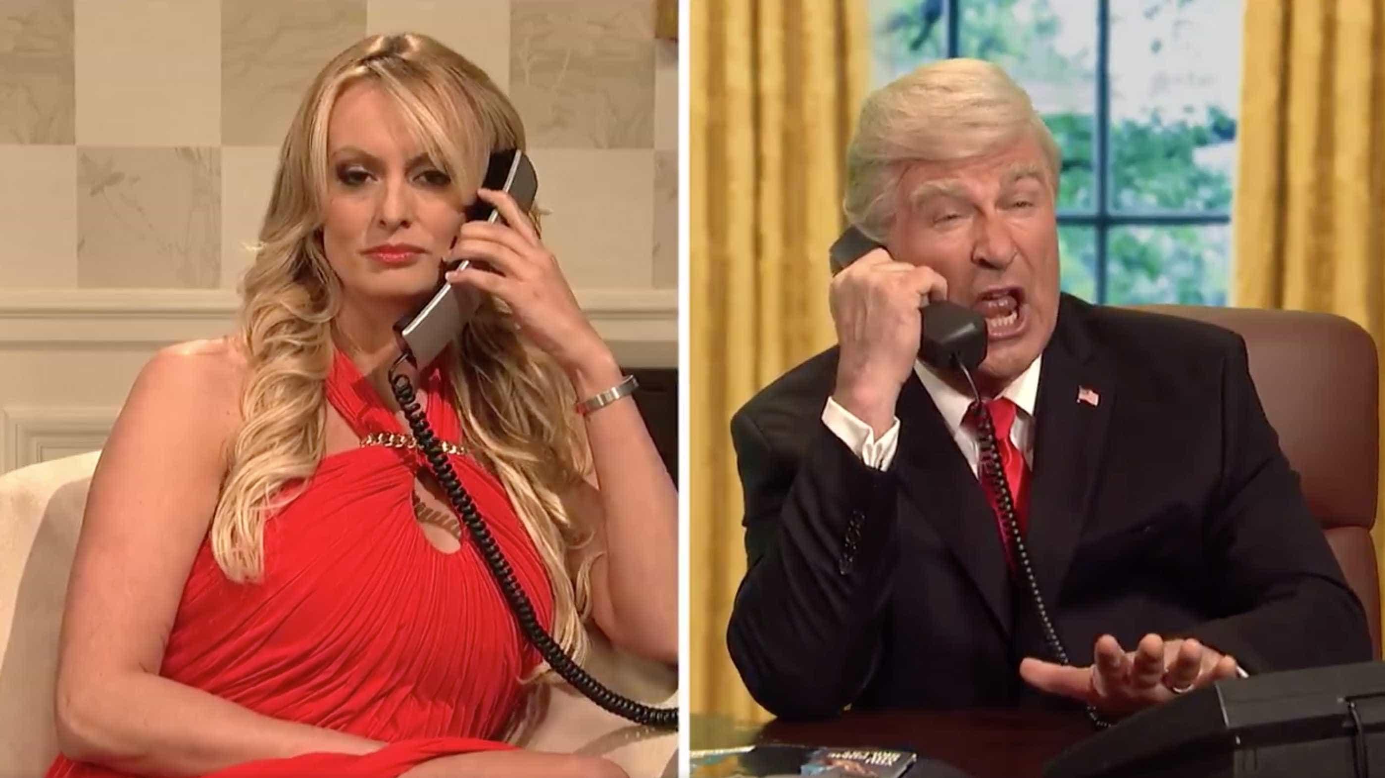 Atriz pornô que teve suposto caso com Trump brilha no SNL