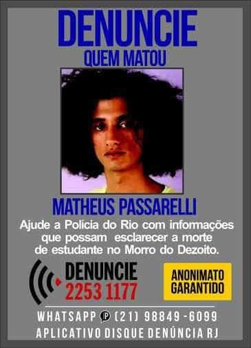 Disque-Denúncia pede informações sobre assassinato de Matheusa