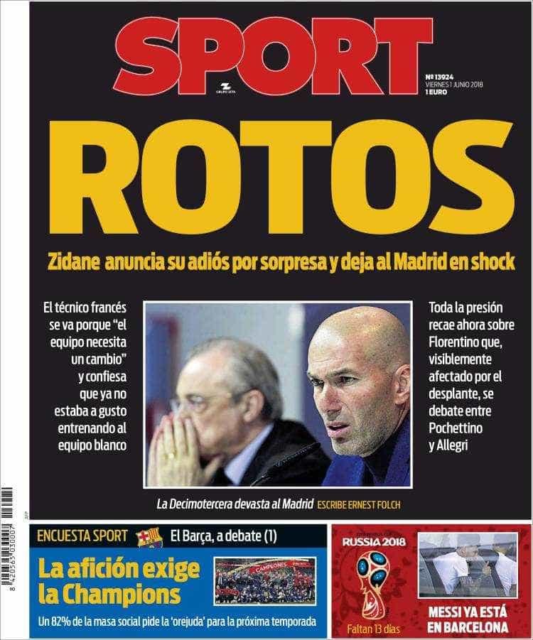 Veja a repercusão da saída de Zidane do Real nos jornais da Espanha