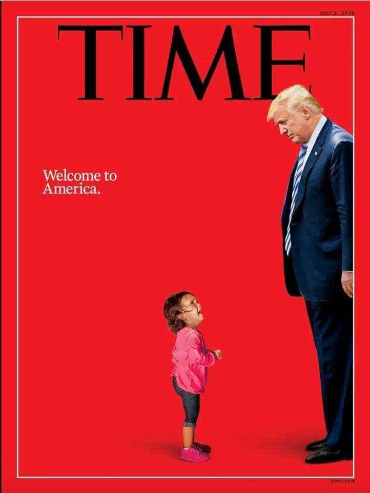 Revista Time faz capa com Trump encarando criança imigrante