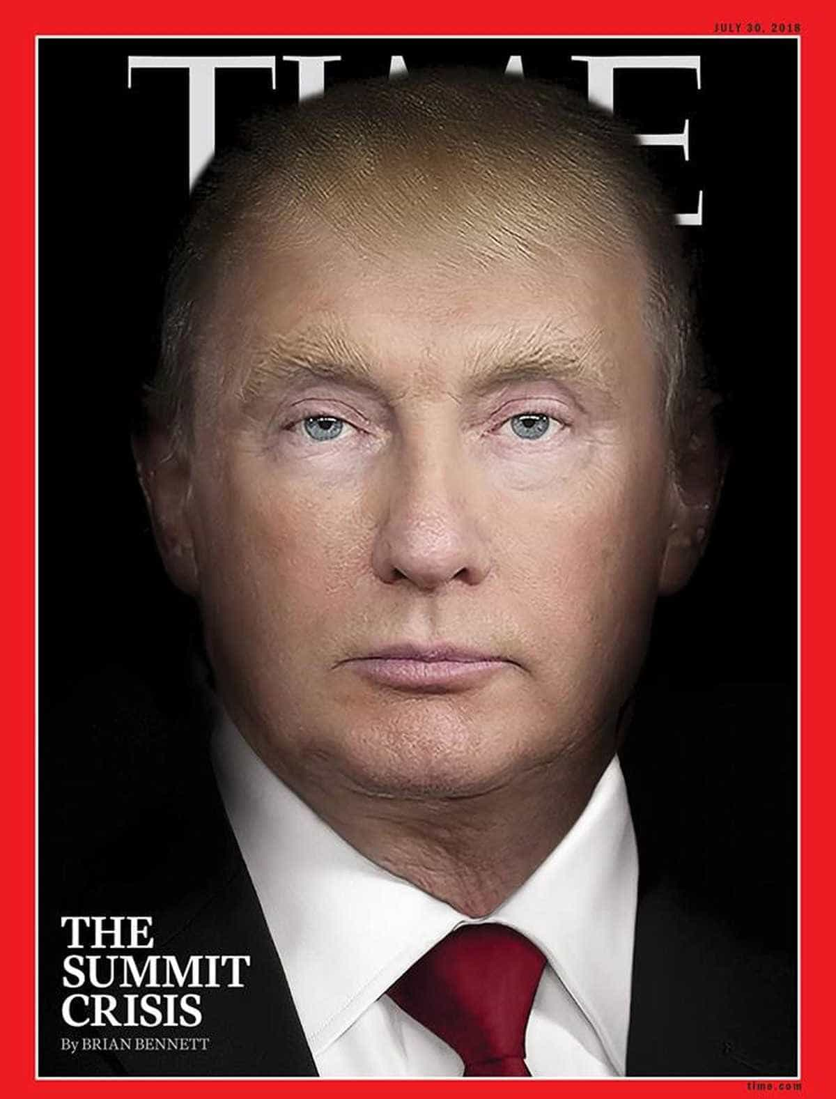 Nova capa da Time faz fusão de rostos de Putin e Trump