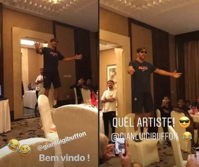 Neymar e Marquinhos registram trote de Buffon no PSG; vídeo