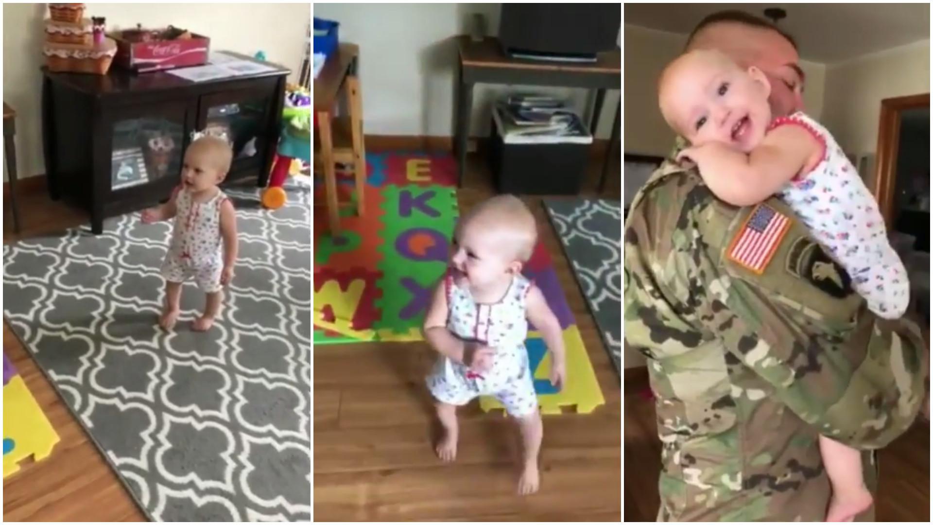 Reação de bebê ao reencontrar o pai emociona a web