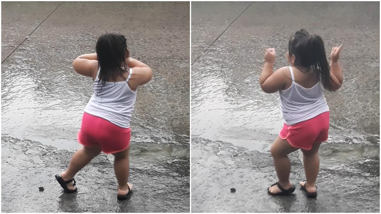 Garotinha dá show de dança impressionante na chuva; veja