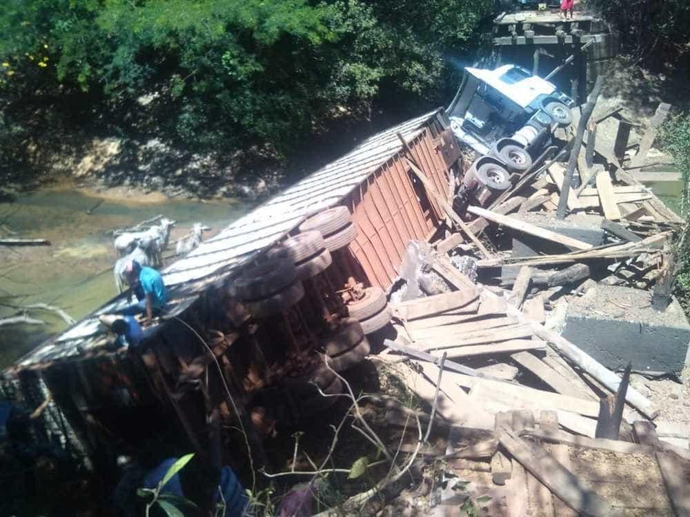 Ponte desaba e caminhão com gado cai em rio no TO