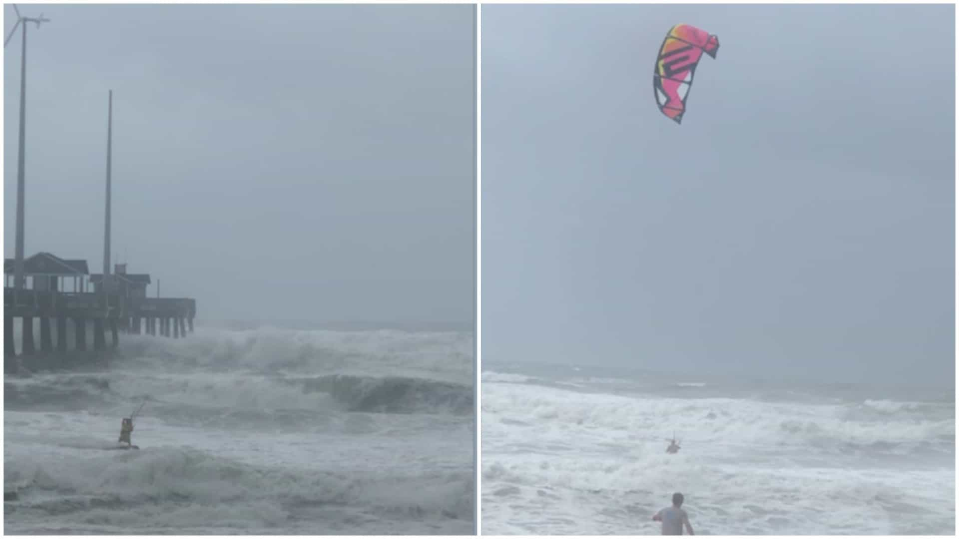 Homem usa vento de furacão para praticar kitesurf nos EUA