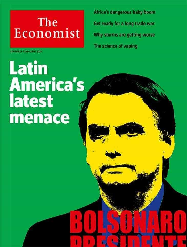 'The Economist' vê Bolsonaro como 'ameaça' e 'presidente desastroso'