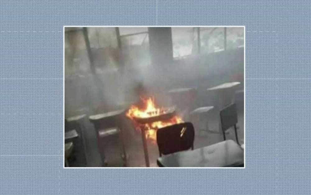 Aluno põe fogo em prova e quase incendeia sala de aula