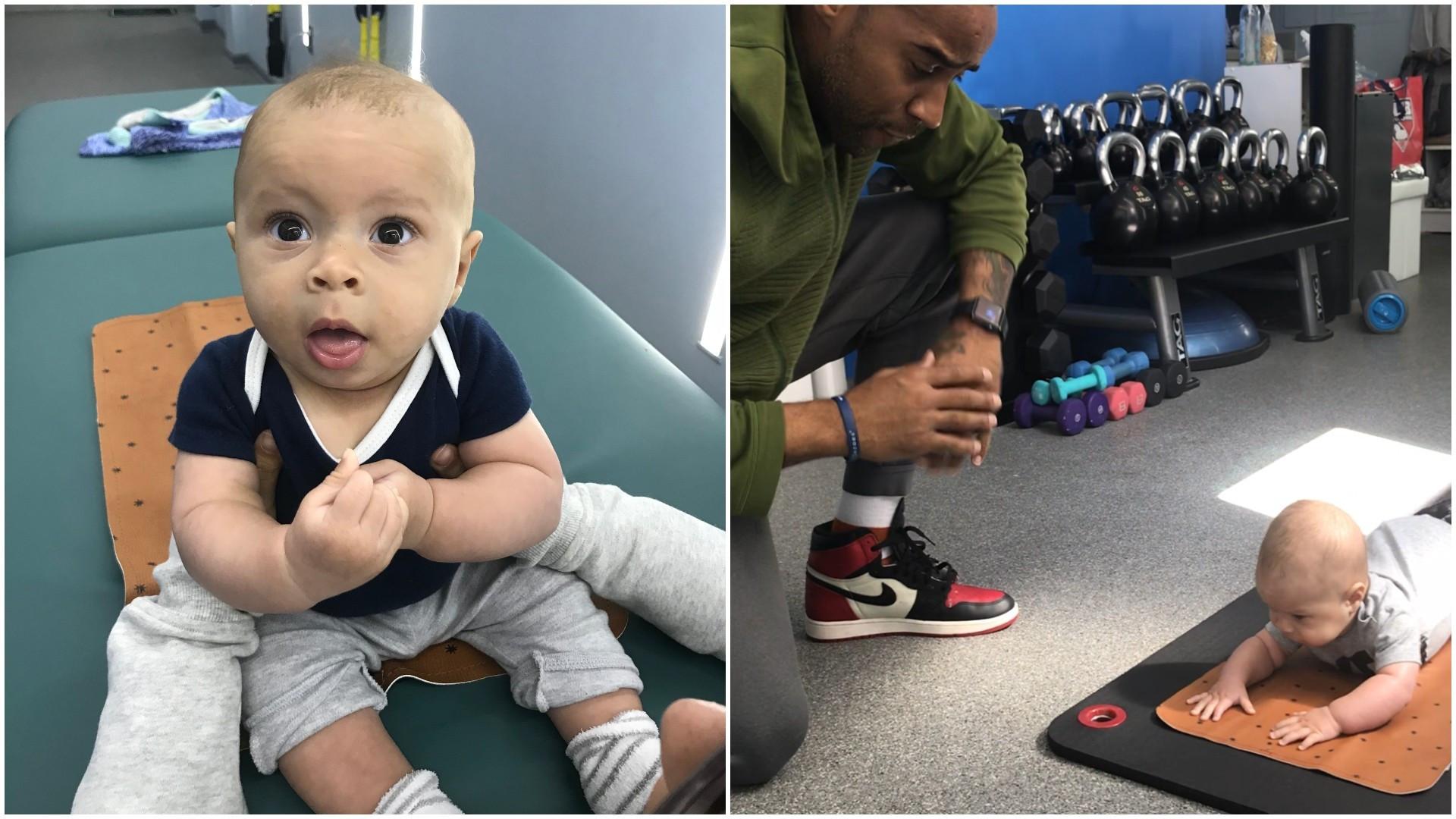 Personal trainer ensina filho bebê a fazer série de exercícios; veja