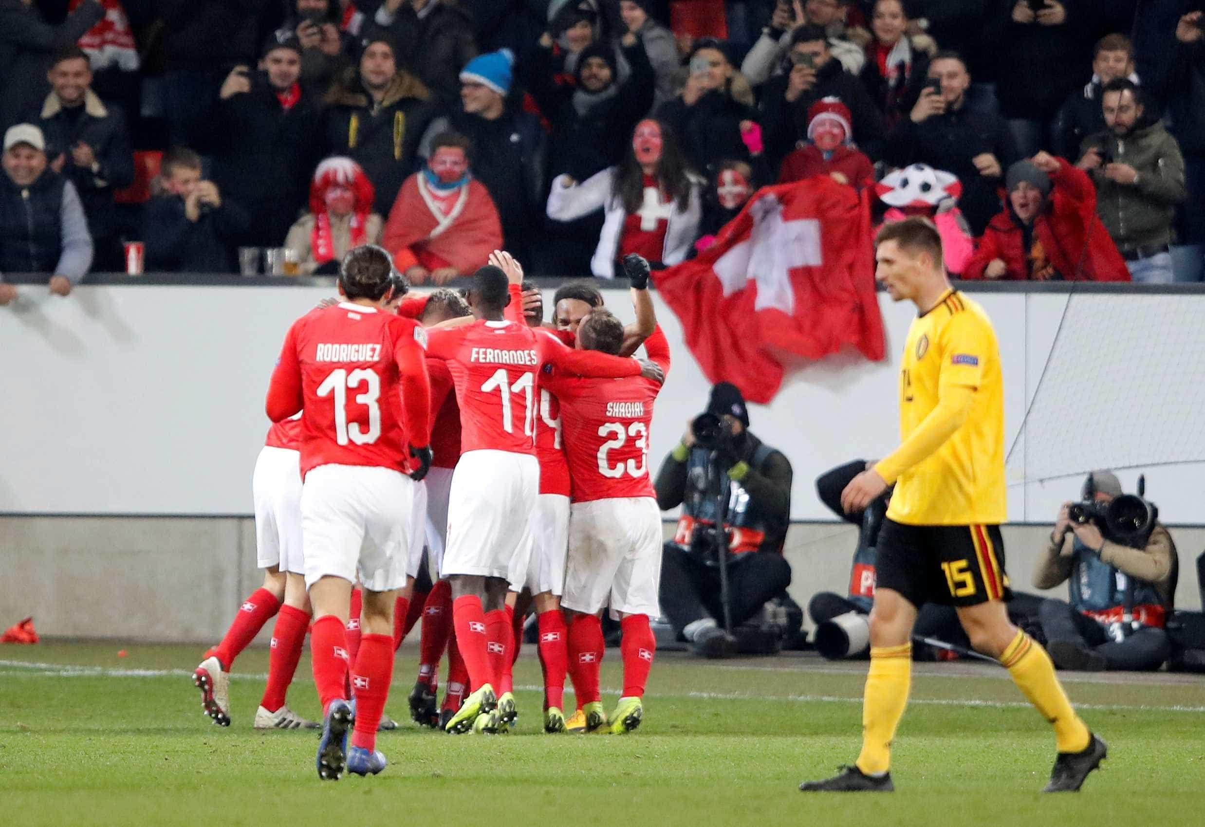 Suíça vira sobre a Bélgica com goleada e avança na Liga