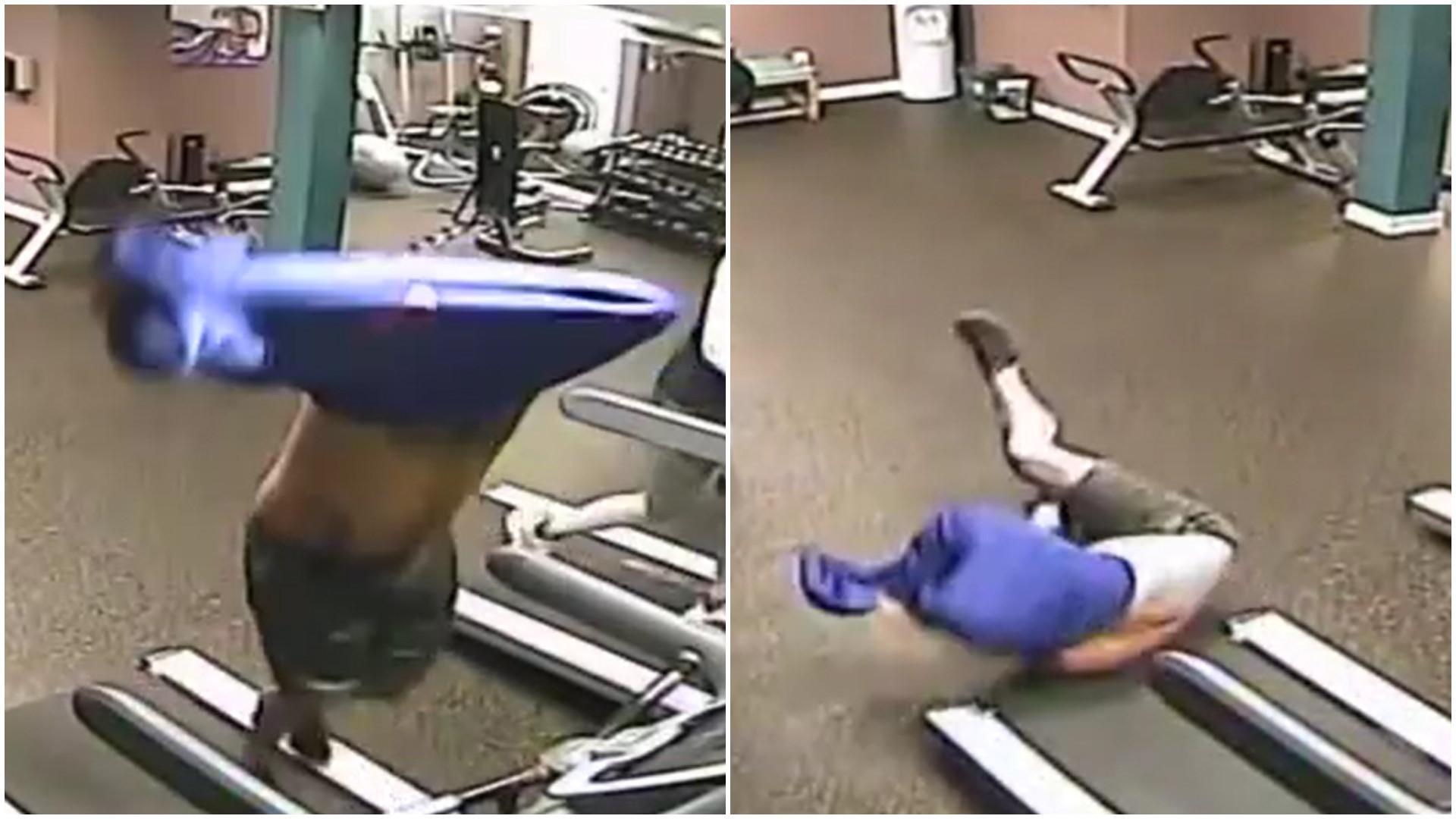 Homem tenta tirar roupa enquanto corre na esteira e leva a pior