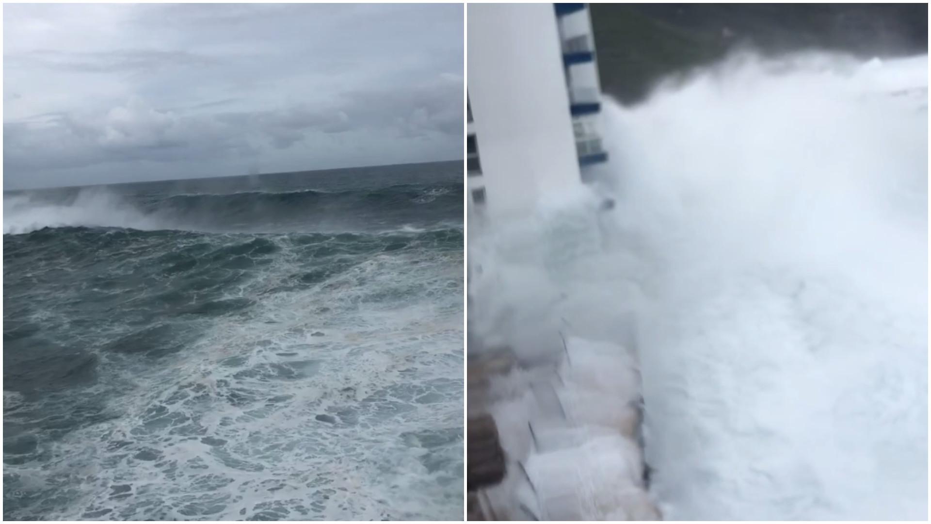 Onda gigante atinge 4º andar de prédio nas Ilhas Canárias
