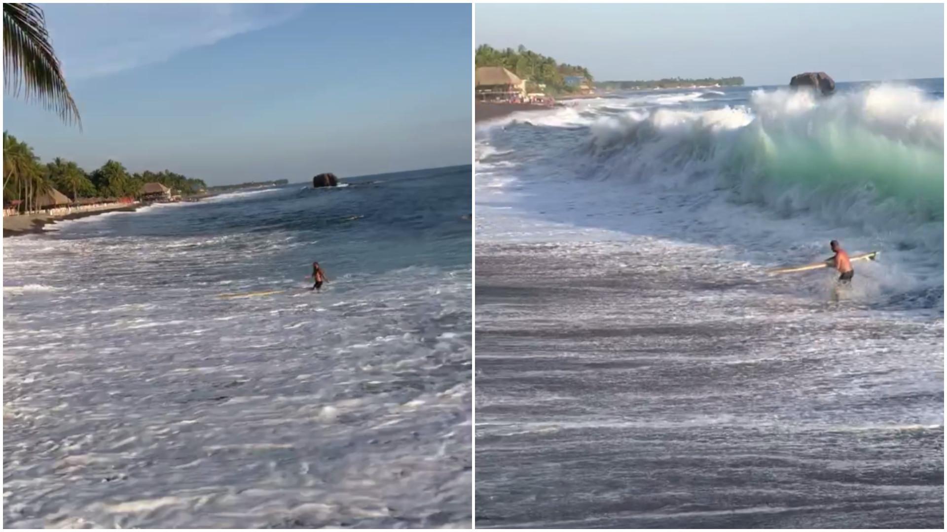 Surfista é 'atropelado' por onda gigante em El Salvador